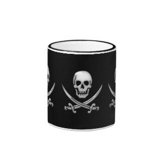 Glassy Pirate Skull & Sword Crossbones Ringer Mug