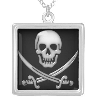 Glassy Pirate Skull & Sword Crossbones Silver Plated Necklace