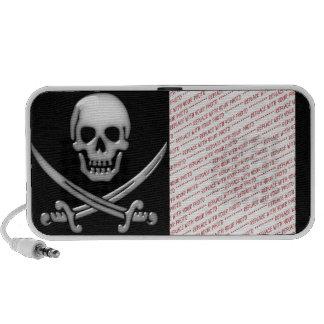 Glassy Pirate Skull & Sword Crossbones Laptop Speakers