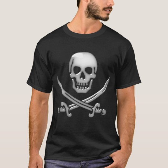 Glassy Pirate Skull & Sword Crossbones T-Shirt