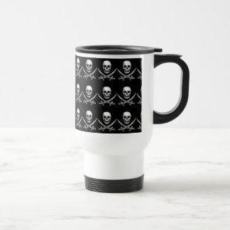 Glassy Pirate Skull & Sword Crossbones Travel Mug