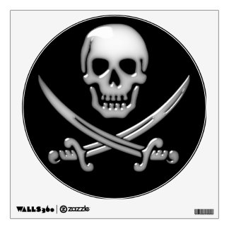 Glassy Pirate Skull & Sword Crossbones Wall Decal