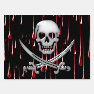 Glassy Pirate Skull & Sword On Bloody Drips Lawn Sign