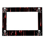 Glassy Pirate Skull & Sword On Bloody Drips Magnetic Photo Frame