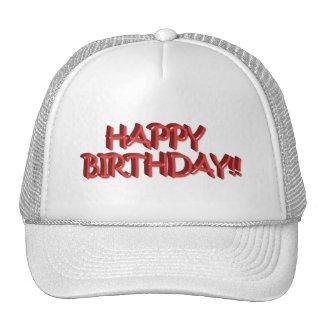Glassy Red Happy Birthday Text Image Trucker Hats