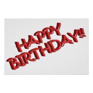 Glassy Red Happy Birthday Text Image Poster