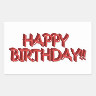 Glassy Red Happy Birthday Text Image Rectangular Sticker