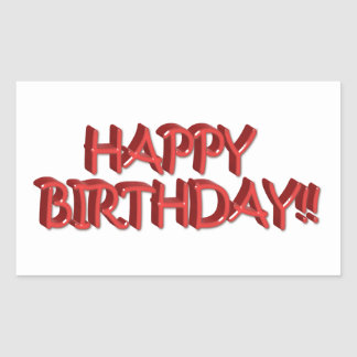 Glassy Red Happy Birthday Text Image Stickers