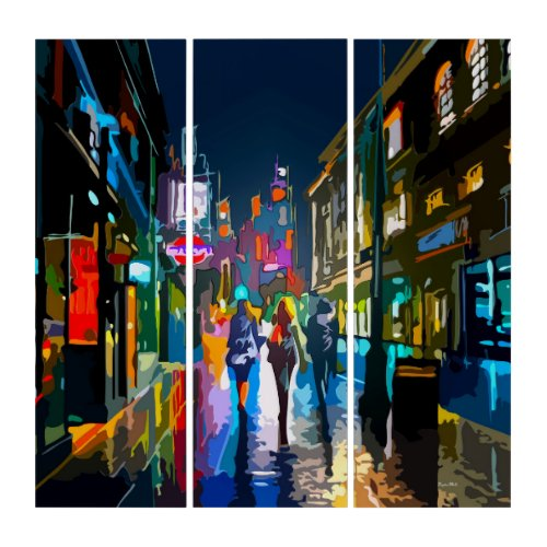 Glassy Reflection Vibrant City Acrylic Triptych