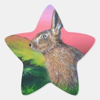 Glastonbury Hare Star Sticker