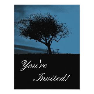 Glastonbury Hawthorn. Black and Blue. Tree. Card