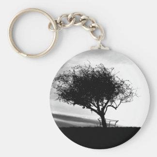 Glastonbury Hawthorn. Tree. Black and White. Basic Round Button Keychain