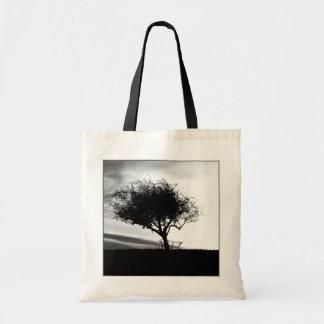 Glastonbury Hawthorn. Tree. Black and White. Budget Tote Bag