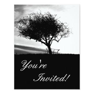 Glastonbury Hawthorn. Tree. Black and White. Card
