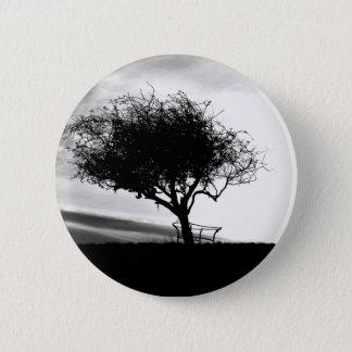 Glastonbury Hawthorn. Tree. Black and White. Pinback Button