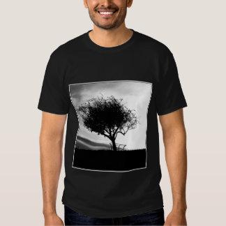 Glastonbury Hawthorn. Tree. Black and White. T Shirt