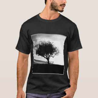 Glastonbury Hawthorn. Tree. Black and White. T-Shirt