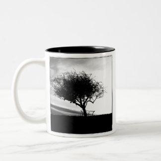 Glastonbury Hawthorn. Tree. Black and White. Two-Tone Coffee Mug