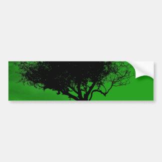 Glastonbury Hawthorn. Tree on Hill. Green Black. Bumper Sticker