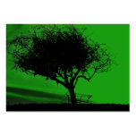 Glastonbury Hawthorn. Tree on Hill. Green Black. Business Card Templates