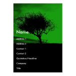 Glastonbury Hawthorn. Tree on Hill. Green Black. Business Card Template
