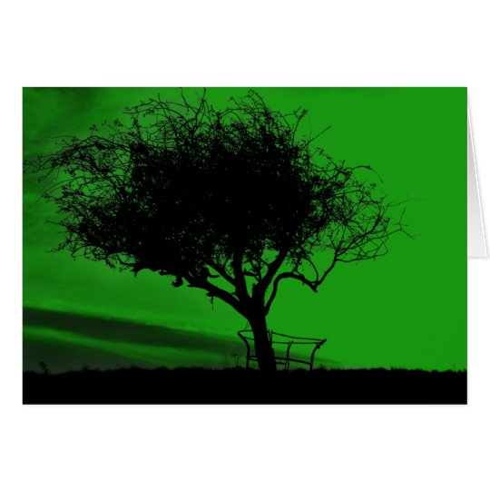 Glastonbury Hawthorn. Tree on Hill. Green Black. Card