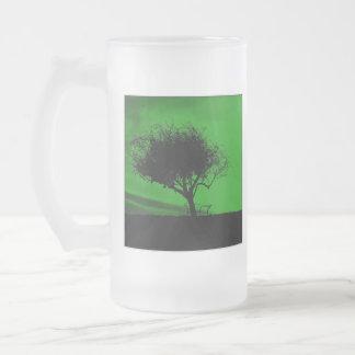 Glastonbury Hawthorn. Tree on Hill. Green Black. Mugs