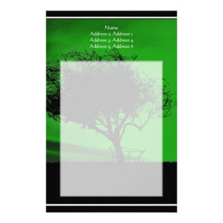 Glastonbury Hawthorn. Tree on Hill. Green Black. Stationery