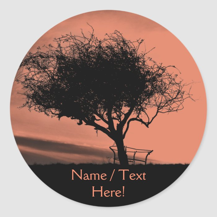 Glastonbury Hawthorn. Tree on Hill. Orange Black. Classic Round Sticker
