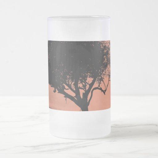 Glastonbury Hawthorn. Tree on Hill. Orange Black. Mug