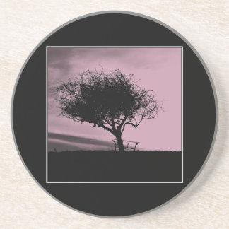 Glastonbury Hawthorn. Tree on Hill. Pink, Black. Beverage Coaster