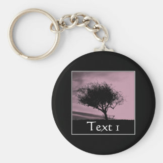 Glastonbury Hawthorn. Tree on Hill. Pink, Black. Keychain
