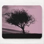 Glastonbury Hawthorn. Tree on Hill. Pink, Black. Mouse Pad