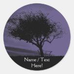 Glastonbury Hawthorn. Tree on Hill. Purple Black. Stickers