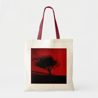 Glastonbury Hawthorn. Tree on Hill. Red and Black. Budget Tote Bag