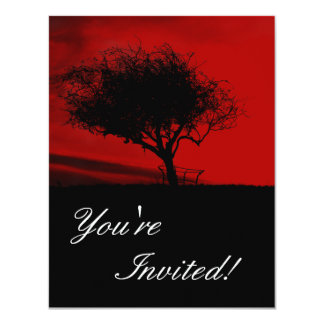 Glastonbury Hawthorn. Tree on Hill. Red and Black. Card
