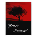 Glastonbury Hawthorn. Tree on Hill. Red and Black. Personalized Announcements