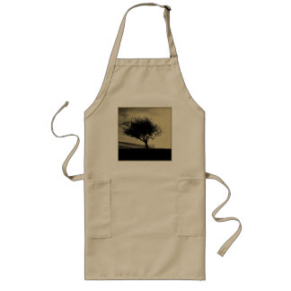 Glastonbury Hawthorn Tree on Hill Sepia Color Aprons