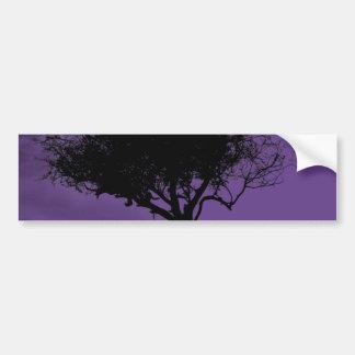 Glastonbury Hawthorn. Tree on Hill. Violet, Black. Bumper Sticker