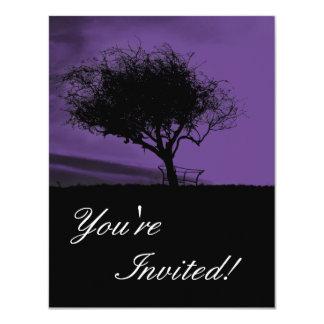Glastonbury Hawthorn. Tree on Hill. Violet, Black. Card