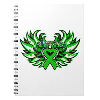 Glaucoma Awareness Heart Wings Notebook