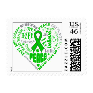 Glaucoma Awareness Heart Words Postage Stamps