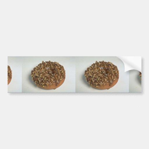 Glazed donut with nuts bumper stickers