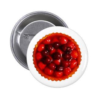 Glazed strawberry flan pinback buttons