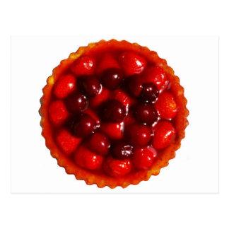 glazed strawberry flan postcard