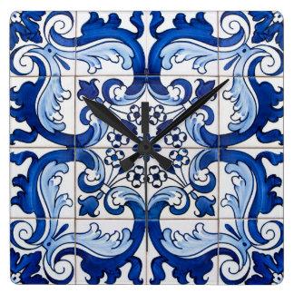 Glazed Tiles Portuguese Azulejo Style Square Wall Clock