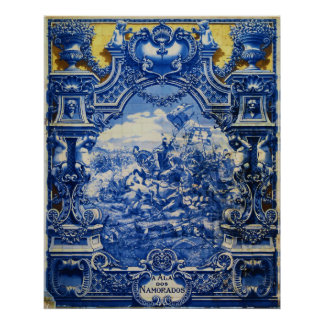 Glazed Tiles Representing Battle of Aljubarrota Poster