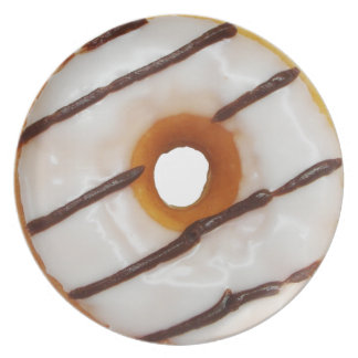 Glazed white frosting with chocolate stripes Donut Dinner Plate