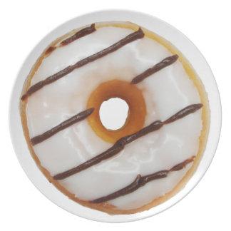 Glazed white frosting with chocolate stripes Donut Plate