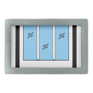 Glazed window with frame belt buckle